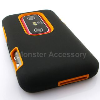 Luxmo Orange Double Layered Hard Case Cover HTC EVO 3D