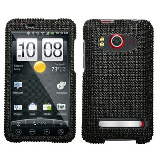 For Sprint HTC EVO 4G Case Cover Bling Rhinestones Black Diamond