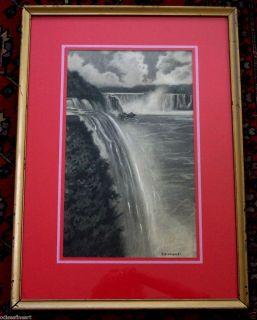 Antique Niagara Falls Hudson River School American Drawing Signed