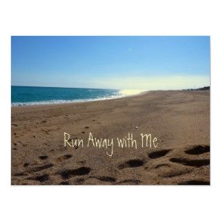 Beach Run away with Me Poster  beautiful beach ocean scene with quote
