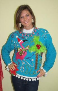 Pink Flamingo Tropical Tacky Ugly Christmas Sweater Bright Blue Fun