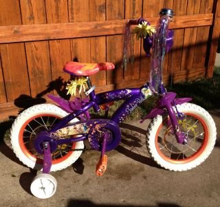 Huffy Tinker Bell Disney Fairies bike w trn wheels Xcellent Condition