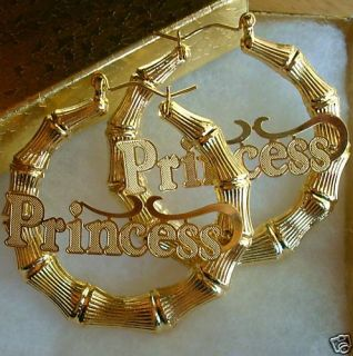 Huge 18K Gold GF Big Bamboo Princess Hoop Earrings 2 5