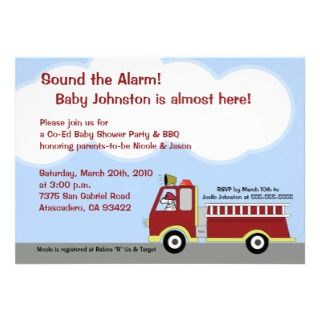 Dalmatian Fire Truck Boy Baby Shower Invitation