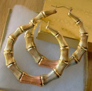 Gold Filled 2 in 1 Big Bamboo Double Sided Hoop Earrings 2 5 D