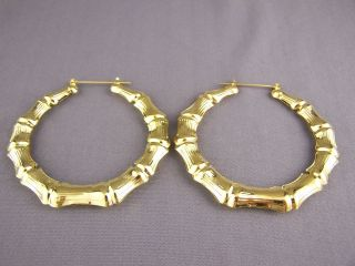 Gold Tone Big Huge Hoops Bamboo Earrings 3 Door Knocker Hoop Hollow