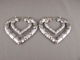 Silver Tone Heart Big Huge Hoops Bamboo Earrings 3 1 8 Door Knocker