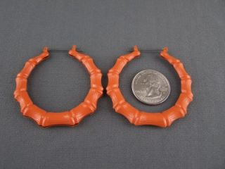 Orange Enamel Big Hoops Bamboo Earrings 2 Wide Door Knocker Hoop