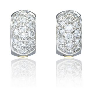 18K Two Tone Gold Diamond Huggie Earrings