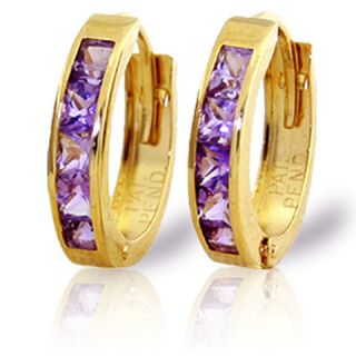 GAT 14k Gold Hoop Huggie Earrings with Natural Amethysts