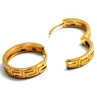 Gold 18K GF Earrings Designer Hoop Huggie 15mm Fashion Sexy Lady Teens