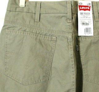 Mens Levis Jeans 505 Trousers Pants Timberwolf Green Khaki 34 30 05041