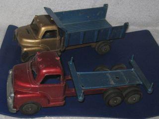Structo Trucks Single Axle Dump Truck 8 1 2 Tandem Axle Flat Bed 9