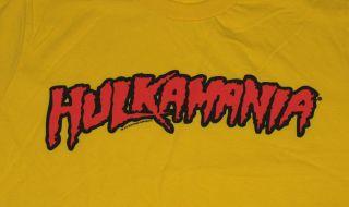 Hulkamania Hulk Hogan Pro Wrestling WWF Retro Yellow T Shirt Tee