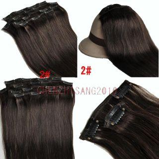 18 Clip Human Hair Extensions 2 Dark Brown Hot Bid