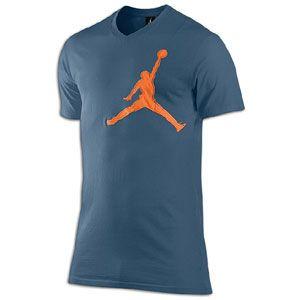 Jordan Graphic Jumpy V Neck T Shirt   Mens   Utility Blue/Mesa Orange