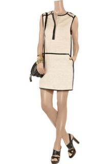 By Malene Birger Anikka leather trimmed silk and cotton blend dress   84% Off