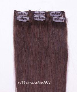 18 6pcs Clip in 100 Human Hair Extensions 36g 2 Dark Brown