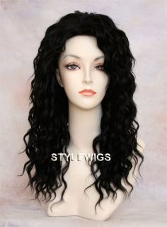 Long Human Hair Blend Wig Curly Heat Safe Dark Brown Wig Sapl 2