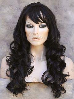 Long Human Hair Blend Wig Wavy Darkest Brown Heat Friendly Curly w