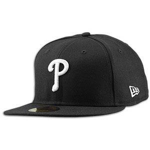 New Era MLB 59Fifty Black & White Basic Cap   Mens   Phillies   Black
