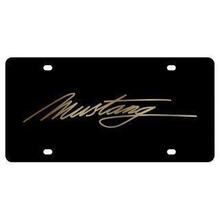 Ford Mustang Script License Plate on Black Steel