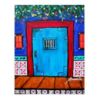 FOLK ART MEXICAN DOOR PAINTING PRINT