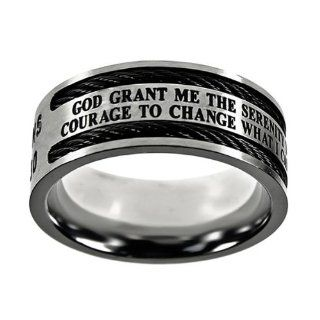 Christian Mens Stainless Steel 10mm Abstinence Black Cable God Grant