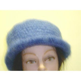 Cp901bm, Hand Crocheted Blue Color Mohair Skull Cap to