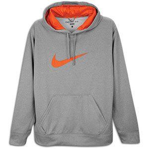 Nike KO Swoosh Logo Hoodie   Mens   Training   Clothing   Dk Grey