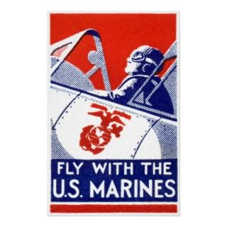 Original WWII recruitment poster promoting Marine Corps Aviation  Fly