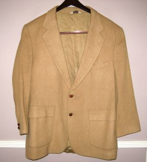 Mens Hunt Valley Tan 100 Camel Hair Blazer Sport Coat Size 44R