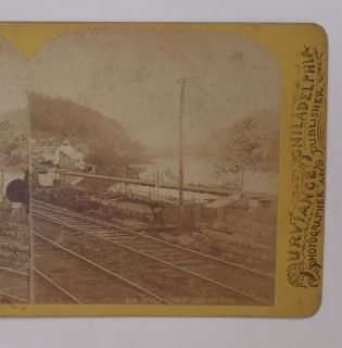 Stereoview Pennsylvania Railroad Main Line Canal Huntingdon PA