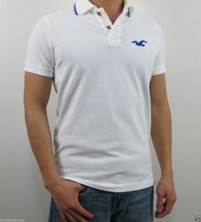 Hollister Mens Muscle Fit White Huntington Beach Polo Shirt by