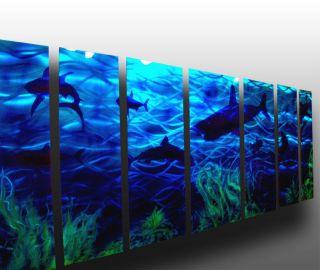 66 Abstract Metal Wall Art Modern Painting Sculpture Shark Scene $1