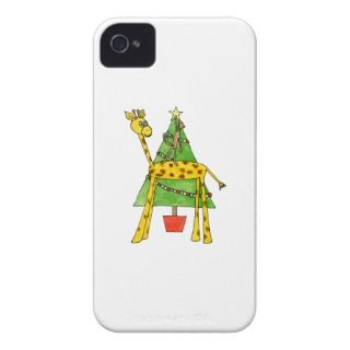 Giraffe, Monkey and Christmas Tree. Case Mate iPhone 4 Case