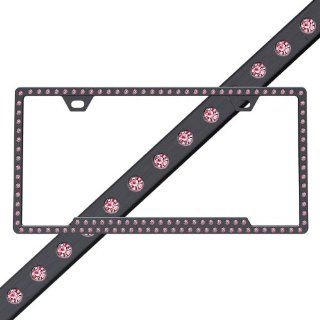 License 2 Bling 125 Hot Pink Swarovski Crystals on Black License Plate