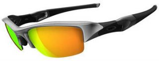 NEW OAKLEY FLAK JACKET SUNGLASSES SILVER FRAME FIRE IRIDIUM LENS 03