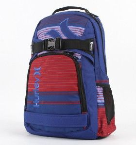 Hurley Honor Roll Blue Red Laptop Skateboard Backpack Bookbag New