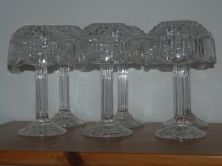 Retro 24 Lead Crystal 8 Hurricane Lamp by Godinger Set of 6