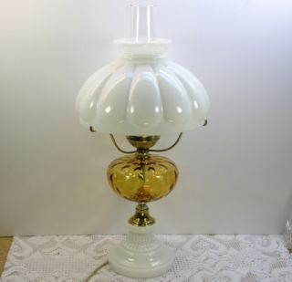Optic White Milk Glass Electric Hurricane Table Lamp w Melon Shade