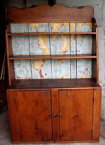 Antique Country Primitive Pine Hutch Cupboard Cabinet Old Paint