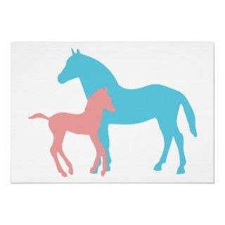 Blue Horse Silhouette original animal art Posters