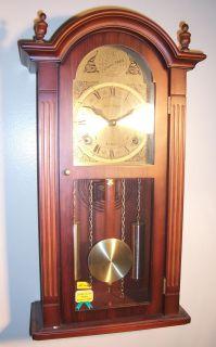 Daniel Dakota 31 Day Key Wind Up Wood Grandfather Wall Pendulum Chime
