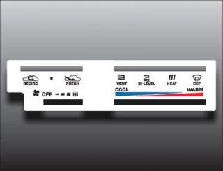 1988 Toyota 4Runner Pickup Truck White Heater Control Overlay HVAC A/C