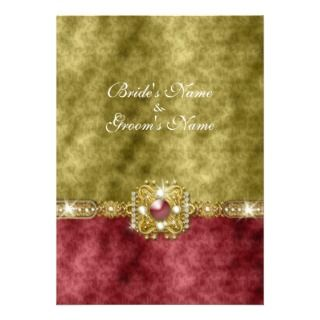 Red gold olive damask wedding business card templates