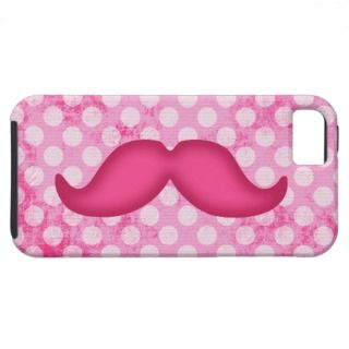 Hot Pink Hipster Mustache and Polka Dot Pattern iPhone 5 Covers