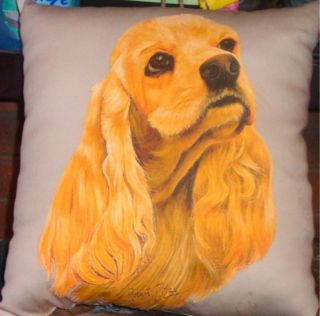 Cocker Spaniel English Fawn Blk Dog Fabric Throw Pillow