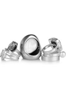 Maison Martin Margiela Set of four white gold plated stacking rings