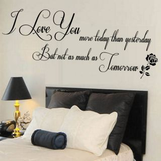 Bedroom on Love You Quote Wall Sticker Living Room Mural Bedroom Gift Large